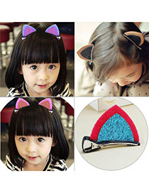 Sweet Plum Red+blue Cat Ears Shape Decorated Simple Design
