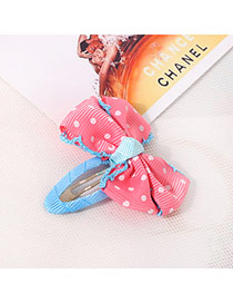 Sweet Watermelon Red Dot Pattern Decorated Bowknot Design  Fabric Kids Accessories