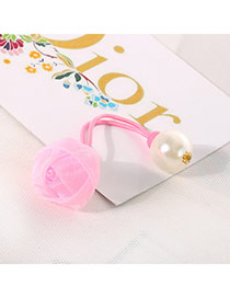 Cute Pink Pearl Decorated Flower Design  Chiffon Kids Accessories
