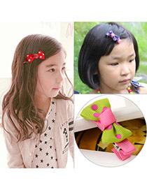 Cute Green Dot Pattern Decorated Bowknot Design  Fabric Kids Accessories