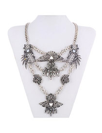 Retro Antique Silver+black Diamond Decorated Hollow Out Design Alloy Fashion Necklaces