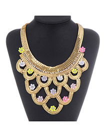 Luxury Gold Color Flower Shape Decorated Hollow Out Design  Alloy Fashion Necklaces