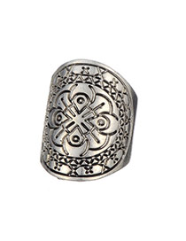 Retro Antique Silver Flower Pattern Decorated Simple Design Alloy Korean Rings