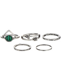 Fashion Antique Silver+green Arrow Shape Decorated Simple Design