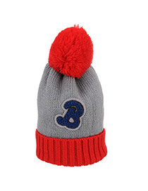 Casual Gray+red Letter B & Ball Decorated Simple Design Wool Knitting Wool Hats