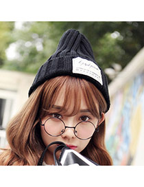 Casual Black Letters Decorated Pure Color Design Wool Knitting Wool Hats