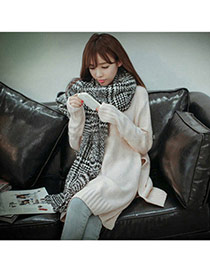 Fashion Black Houndstooth Pattern Simple Design  Woolen Yarn knitting Wool Scaves