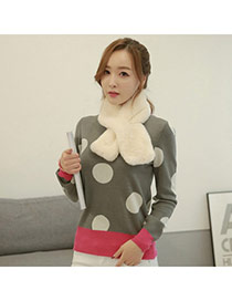 Fashion White Pure Color Simple Design Woolen Yarn knitting Wool Scaves