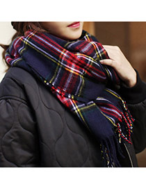 Fashion Navy Blue Grid Pattern Simple Design  Imitation Cashmere knitting Wool Scaves