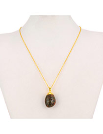Personality Coffee Waterdrop Shape Stone Pendant Decorated Simple Design Alloy Chains