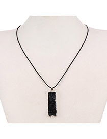Personality Black Rectangle Stone Pendant Decorated Simpledesign Alloy Chains