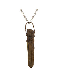 Personality Bronze Strip Stone Pendant Decorated Simple Design Stone Chains