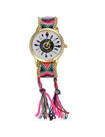 Retro Plum Red+green Feather Pattern Decorated Weave Tassel Design  Alloy Ladies Watches