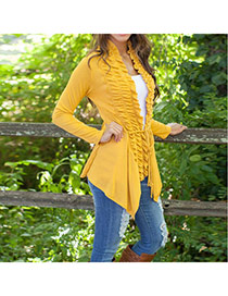 Casual Yellow Long Sleeve Irregular Cardigan Coat Thin Outerwear Design  Polyester %28pet%29 Coat-Jacket