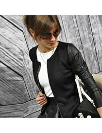 Fashion Black Long Sleeve O-neck Front Zipper Stitching Design  Polyester %28pet%29 Coat-Jacket