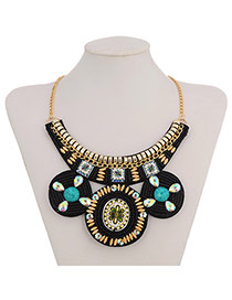 Bohemian Black+green Round Shape Pendant Decorated Collar Design Acrylic Bib Necklaces