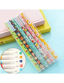 Personality Multi-color Ink Flower Pattern Decorated Simple Edsign Plastic Writing Pens