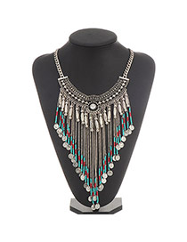 Bohemian Silver Color Coins&beads Decorated Tassel Design