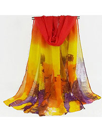 Pretty Red+yellow Painting Decorated Gradient Design  Cotton Thin Scaves