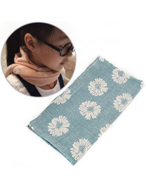 Pretty Blue Daisy Pattern Decorated Simple Design  Cotton Thin Scaves