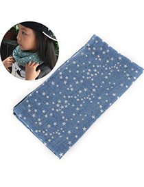 Pretty Denim Blue Star Pattern Decorated Simple Design