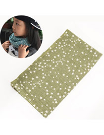 Pretty Green Star Pattern Decorated Simple Design  Cotton Thin Scaves