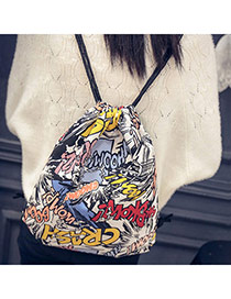 Personality Multi-color Cartoon Scrawl Pattern Decorated Simple Design  Canvas Backpack