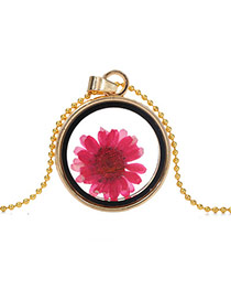 Elegant Plum Red Sunflower Pattern Decorated Round Shape Perfume Bottle Pendante Design Alloy Chains