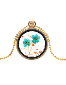 Elegant Green+orange Two Flower Pattern Decorated Round Shape Perfume Bottle Pendante Design