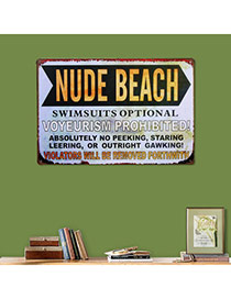 Nostalgic Gray Letter Nude Beach Decorated Metal Painting Iron