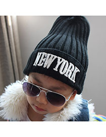 Trendy Black Letter Newyork Decorated Pure Color Design