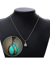 Personality Blue Rotate Round Pendant Decorated Noctilcent Design Alloy Korean Necklaces