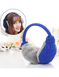 Fashion Blue Color Matching Weave Simple Design Wool Fashion earmuffs