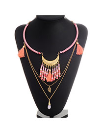 Exaggerate Pink Beads&tassel Pendant Decroated Multilayer Deisgn  Alloy Fashion Necklaces