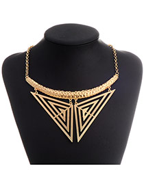 Exaggerate Gold Color Two-triangle Pendant Decorated Simple Design Alloy Bib Necklaces