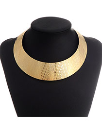 Exaggerate Gold Color Triangle Pattern Decorated Simple Design  Alloy Korean Necklaces