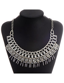 Exaggerate Anti-silver Diamond Decorated Hollow Out Tassel Design  Alloy Fashion Necklaces