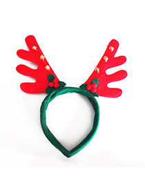 Personality Red+green Bell & Antlers Head Decorated Simple Design