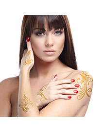 Personality Gold Color Flower Pattern Flash Sheet Temporary Hair Sticker  Paper Tattoos body Art
