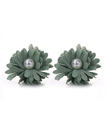 Sweet Green Pearl Decorated Flower Shape Design Alloy Stud Earrings