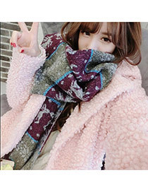 Fashion Purple Graffiti Pattern Decorated Color Matching Design  Wool knitting Wool Scaves