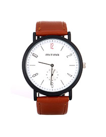 Retro Brown Second Disc Decorated Round Shape Case Design Alloy Ladies Watches