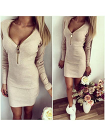 Sexy Apricot Long Sleeve With Zip Decorated V Neck Over Hip Design  Cotton Long Dress