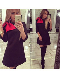 Casual Black Bowknot Decorated Long Sleeve A-line Design  Cotton Long Dress