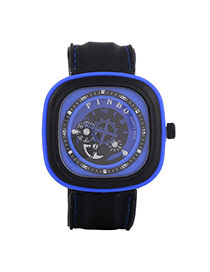 Casual Dark Blue Second Disc Decorated Square Shape Design  Platic Men's Watches