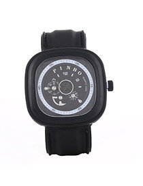 Casual Black Second Disc Decorated Square Shape Design  Platic Men's Watches