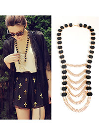 Fashion Gold Color Square Shape Decorated Multilayer Design Alloy Chains