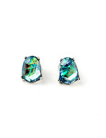 Personality Blue Irregular Shape Decorated Simple Design Alloy