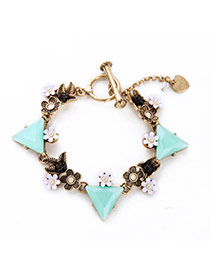Personality Blue Flower&triangle Shape Decorated Simple Design