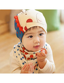 Lovely Dark Blue+beige Dots Pattern Decorated Catoon Deer Design With Scarf Cotton Children's Hats